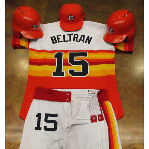 Photo of Carlos Beltran Astros Game-Used Turn Back The Clock Uniform 6/24/17