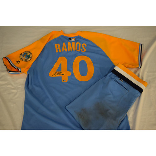 Photo of Game-Used Autographed Turn Back the Clock Jersey and Pants: Wilson Ramos