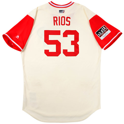 "Photo of Yacksel ""Rios"" Rios Philadelphia Phillies Game-Used Players Weekend Jersey"