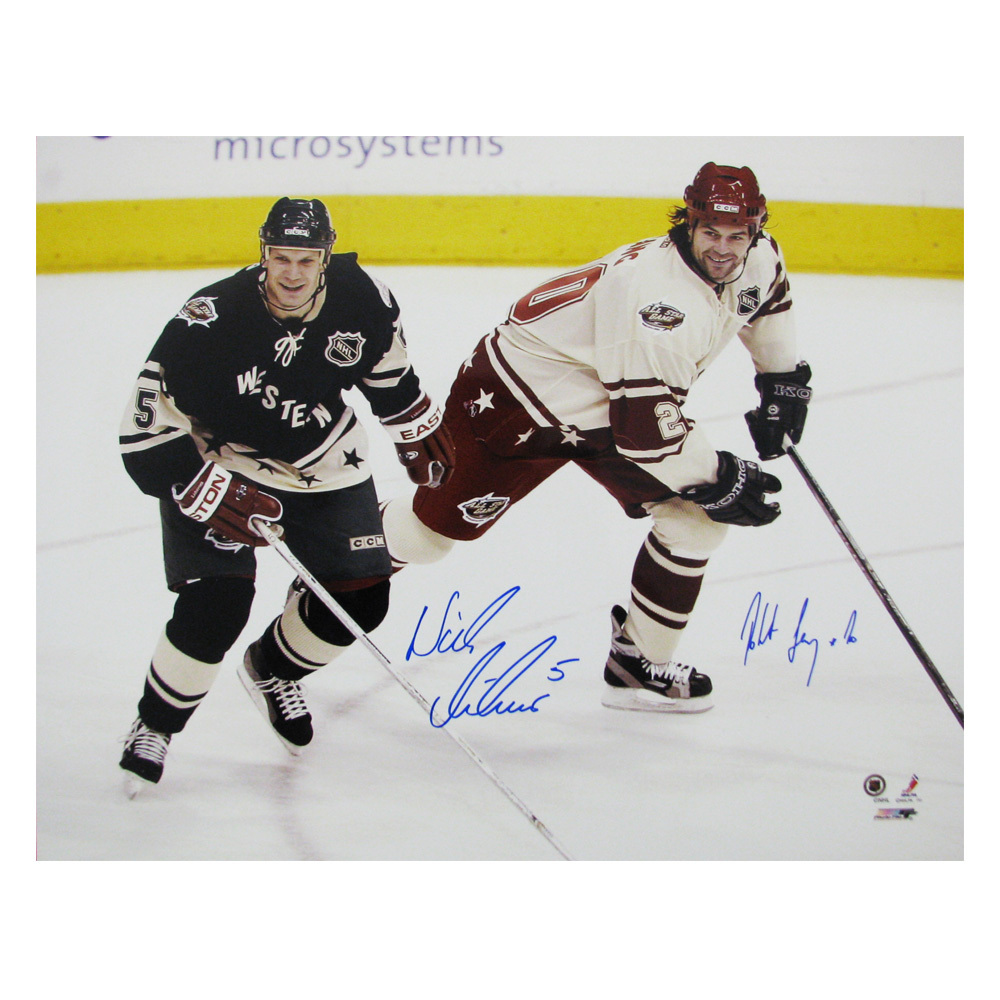 NICKLAS LIDSTROM & ROBERT LANG Signed All-Star 16 X 20 Photo - Detroit Red Wings - 79002