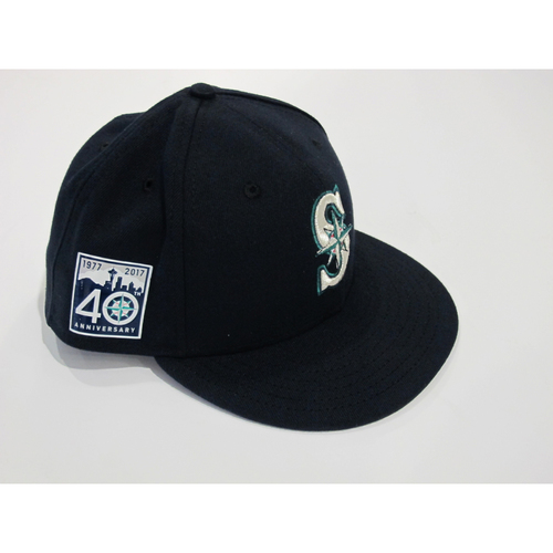 Photo of Kyle Seager Opening Day 40th Anniversary Game-Used Cap Size 73/8