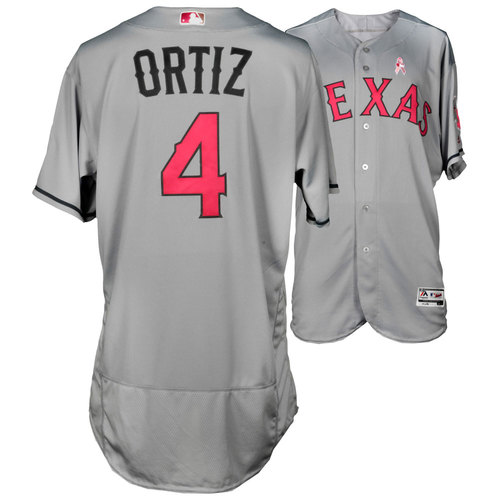 Photo of Hector Ortiz Texas Rangers Game-Used Grey And Pink Mother's Day Jersey Vs. Detroit Tigers On May 8, 2016