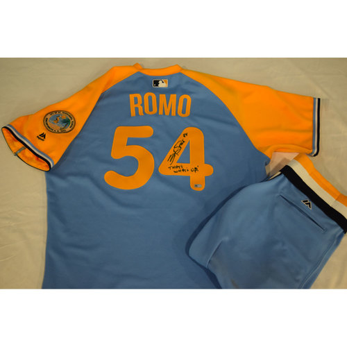 Photo of Game-Used Autographed Turn Back the Clock Jersey and Pants: Sergio Romo