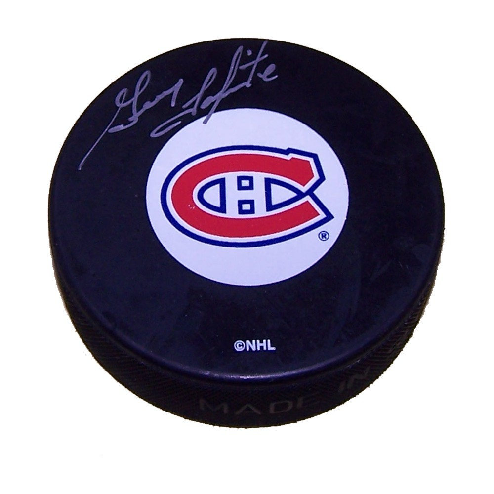 Guy Lapointe Autographed Montreal Canadians Puck