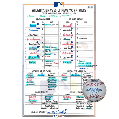 Photo of Game Used Lineup Card and Game Used Baseball Combination - Bartolo Colon Start - Bartolo Colon to Freddie Freeman - 6th Inning - Mets vs. Braves - 9/21/16