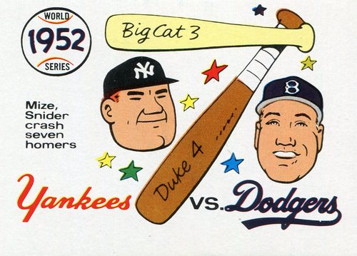 Photo of 1970 Fleer Laughlin World Series Blue Backs #49 1952 Yankees/Dodgers/(Johnny Mize & Duke Snider)