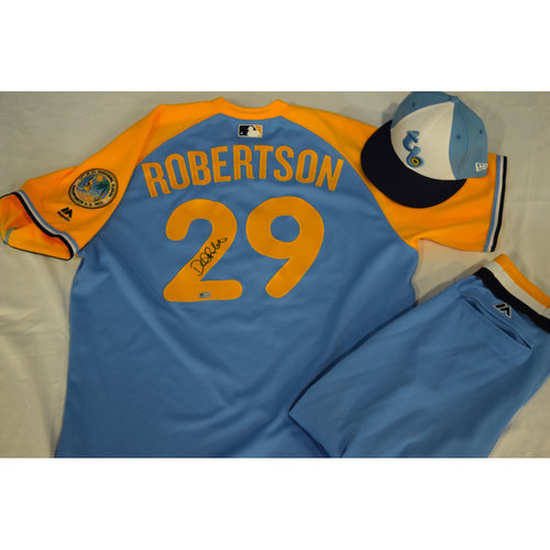 Photo of Game-Used Autographed Turn Back the Clock Jersey, Hat and Pants: Daniel Robertson