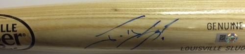 Photo of Jonny Gomes Autographed Blonde Louisville Slugger Bat