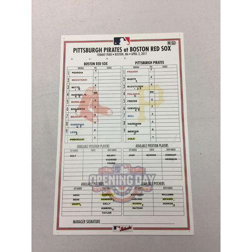 Photo of April 3, 2017 Pirates at Red Sox Game-Used Opening Day Lineup Card