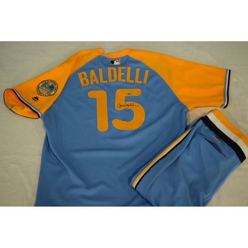 Photo of Game-Used Autographed Turn Back the Clock Jersey and Pants: Rocco Baldelli