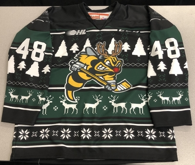 Alexandre Hogue Sarnia Sting game worn 2018 Ugly Christmas Sweater jersey