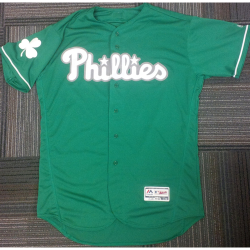 Photo of 2016 Game-Used Maikel Franco St. Patrick's Day Jersey