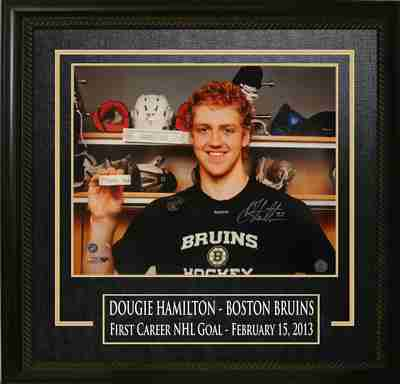 Dougie Hamilton - Signed & Framed 16x20 Etched Mat - Boston Bruins First Goal