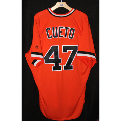 Photo of #47 Johnny Cueto's Game-Used Turn Back the Clock Retro Jersey -  All Proceeds Benefit the Pulse Victim Fund