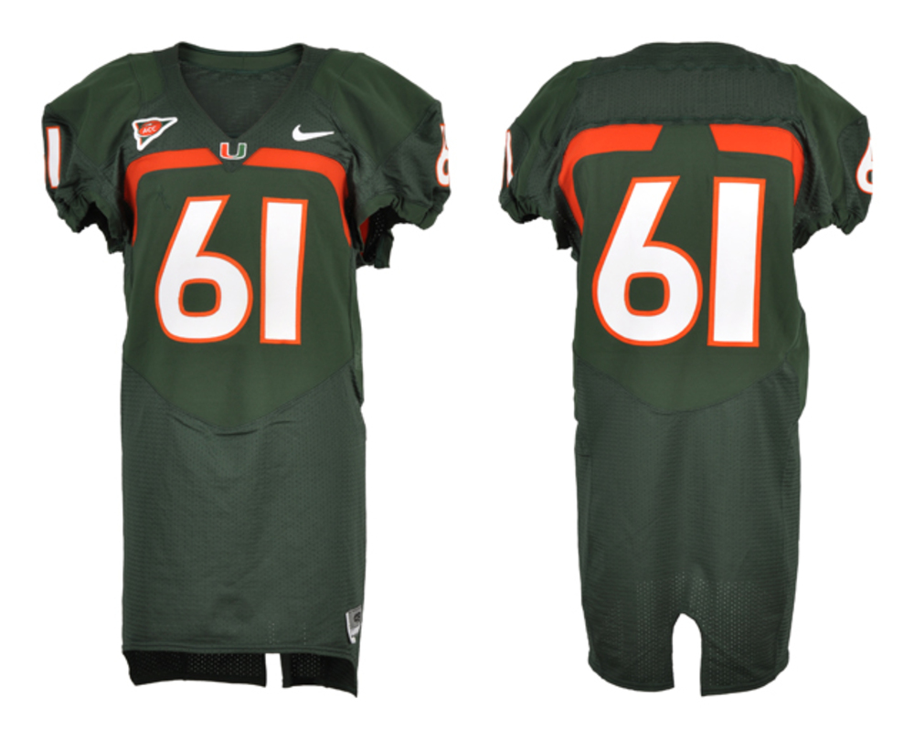 Miami Hurricanes Game-used #61 Green Football Jersey