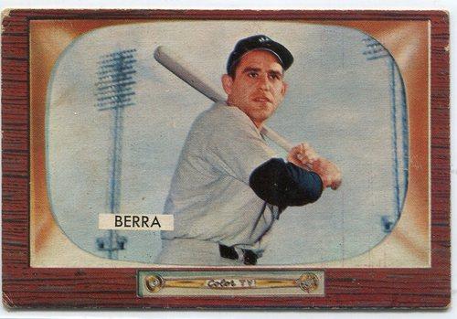 Photo of 1955 Bowman #168 Yogi Berra -- Yankees Hall of Famer