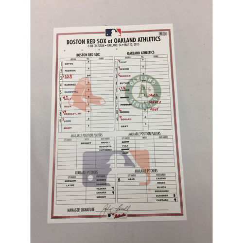 Photo of May 13, 2015 Red Sox at Athletics Game-Used Lineup Card