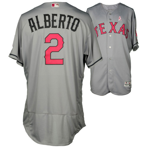 Photo of Hanser Alberto Texas Rangers Game-Used Grey And Pink Mother's Day Jersey Vs. Detroit Tigers On May 8, 2016