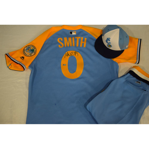 Photo of Game-Used Autographed Turn Back the Clock Jersey, Hat and Pants: Mallex Smith