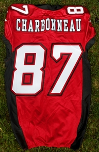 Calgary Stampeders game used jersey worn by Simon Charbonneau-Campeau