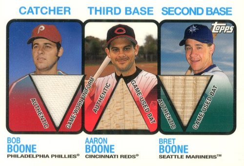 Photo of 2002 Topps Like Father Like Son Relics #FSBOO Bob Boone Jsy/Aaron Boone Jsy/Bret Boone Bat