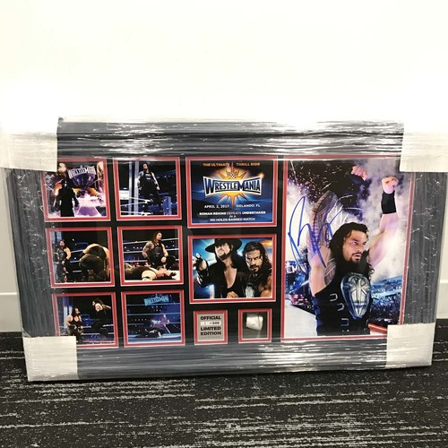 Roman Reigns WrestleMania 33 Signed Commemorative Plaque