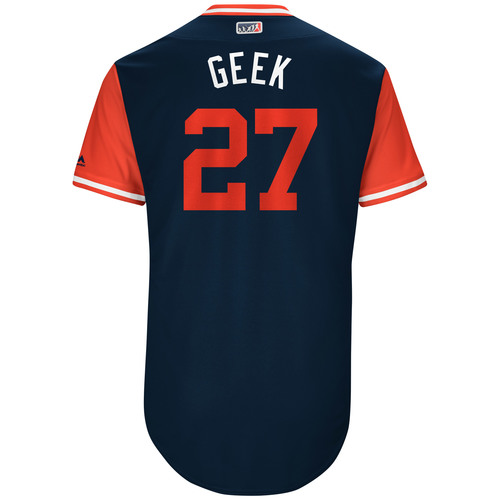 "Photo of Bryan ""Geek"" Shaw Cleveland Indians Game-Used Players Weekend Jersey"
