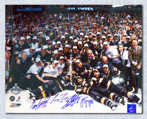Anaheim Ducks 2007 Stanley Cup 16x20 Signed by Selanne, Getlzaf, Giguere & Perry
