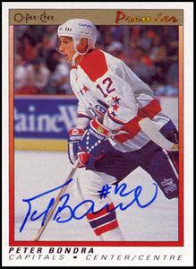1990 OPC Premier #7 Peter Bondra Autographed Rookie Card - Washington Capitals