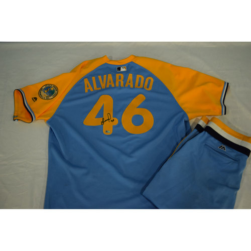 Photo of Game-Used Autographed Turn Back the Clock Jersey and Pants: Jose Alvarado