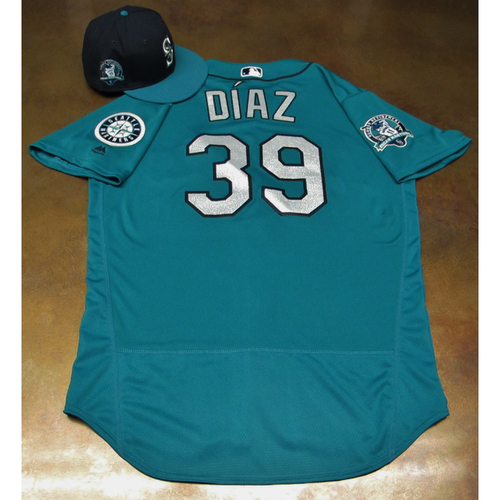 Photo of Edwin Diaz Green Game-Used Jersey & Cap With Edgar Martinez Patch Worn 8-11-2017