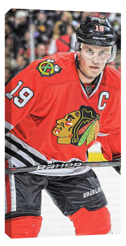 Toews,J Unsigned 14x28 Canvas Blackhawks Dark Jersey