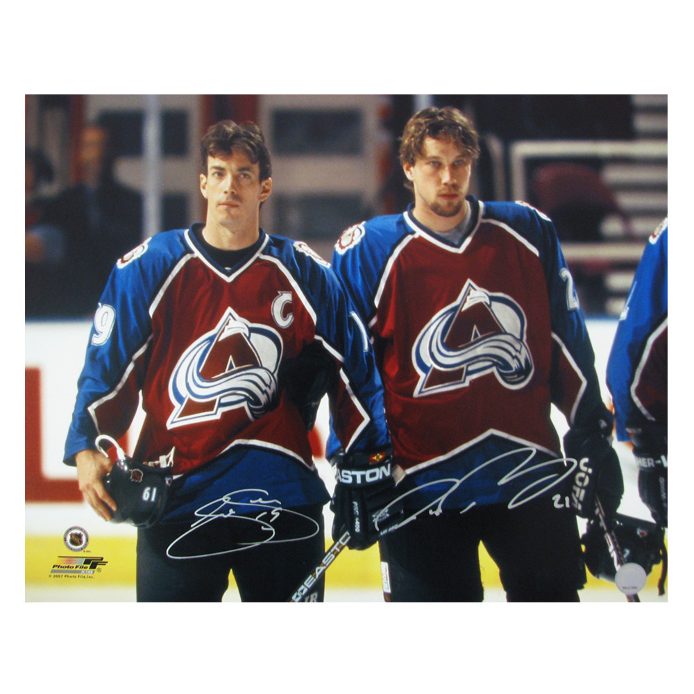 JOE SAKIC & PETER FORSBERG Dual-Signed Colorado Avalanche 16 X 20 Photo - 79008
