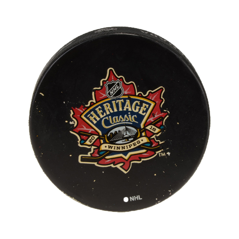 2016 Heritage Classic Edmonton Oilers vs. Winnipeg Jets Warm-Up Used Puck