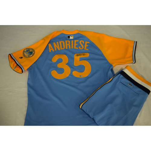 Photo of Game-Used Autographed Turn Back the Clock Jersey and Pants: Matt Andriese