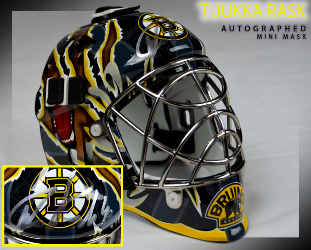 TUUKKA RASK Signed Boston Bruins Mini Helmet