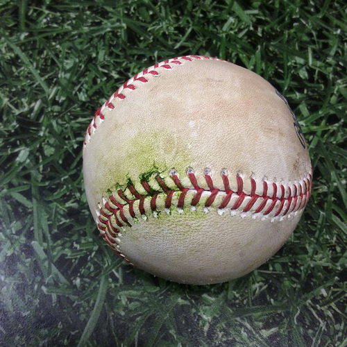 Photo of Game-Used Baseball STL@MIL 04/23/17 - Mike Leake to Ryan Braun: RBI Double