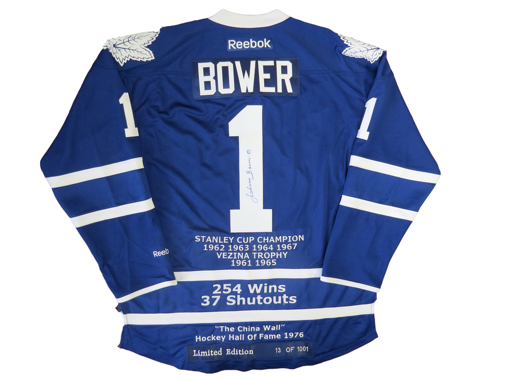 Johnny Bower Autographed Toronto Maple Leafs STATS & AWARDS Limited Custom Embroidered Jersey