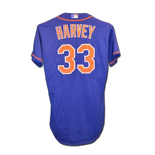 Photo of Matt Harvey #33 - Game Used Blue Alt. Home Jersey - 6 IP, 8 Strikeouts - Mets vs. Red Sox - 8/28/15