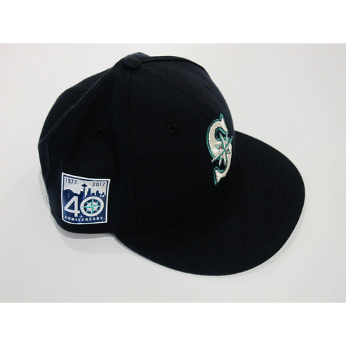 Photo of Mitch Haniger Opening Day 40th Anniversary Game-Used Cap Size 71/8