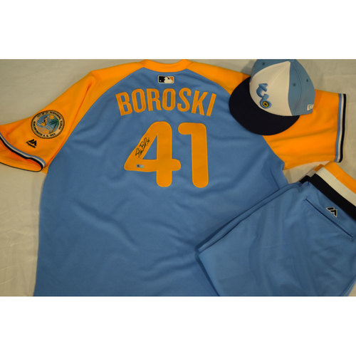 Photo of Game-Used Autographed Turn Back the Clock Jersey, Hat and Pants: Stan Boroski