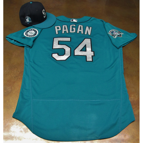 Photo of Emilio Pagan Green Game-Used Jersey & Cap With Edgar Martinez Patch Worn 8-11-2017