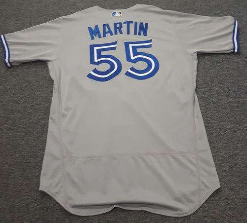 Authenticated Game Used Jersey - #55 Russell Martin (July 31, 2017: 1-for-4 with 1 HR, 1 Run and 1 RBI). Size 46.