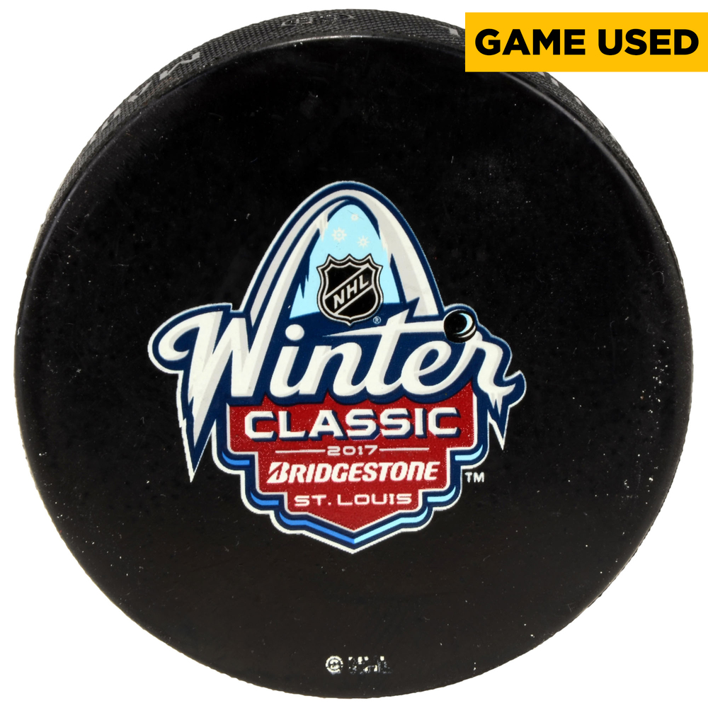 2017 Winter Classic Chicago Blackhawks vs. St. Louis Blues Alumni Game Warm-Up Used Puck