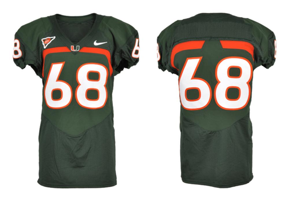 Miami Hurricanes Game-used #68 Orange Football Jersey