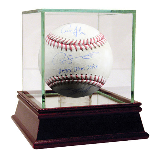 """Photo of Aaron Judge/Tyler Austin/Gary Sanchez Triple-Signed Game-Used Baseball w/ """"Baby Bombers"""" Insc - Case Not Included"""