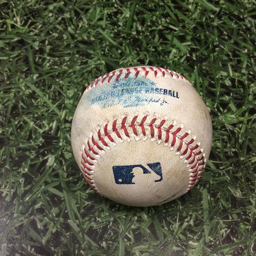 Photo of Game-Used Baseball STL@MIL 04/20/17 - Zach Davies to Yadier Molina: Single