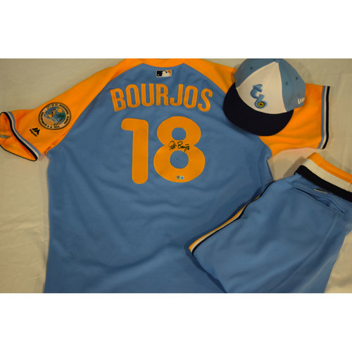 Photo of Game-Used Autographed Turn Back the Clock Jersey, Hat and Pants: Peter Bourjos