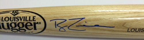 Photo of Ryan Zimmerman Autographed Blonde Louisville Slugger Bat