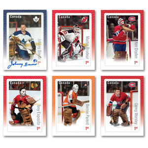 Johnny Bower Autographed Toronto Maple Leafs Canada Post Hockey Card (Complete Six Card Set Included)